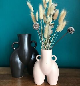 LARGE BLACK 21cm Tall Peachy Bum Vase Flower Pot Love Handles Hips bottom Booty