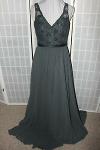 NWT LOT of 2 Mori Lee 122 Charcoal lace & Chiffon Size 12 & 20 bridesmaid dress
