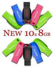LOT 10x SanDisk Cruzer Blade 8GB USB 2.0 Flash Memory Pen Drive Stick 8 GB MIX