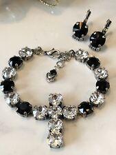 Swarovski Crystal Elements Black White Cross Bracelet & Earrings 8mm New