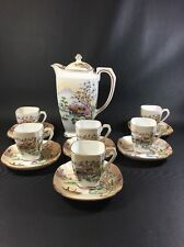 Vintage Hand Painted Delicate Tea Set Made in Japan Mountain Motif 13 pc 10R