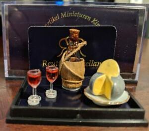 Dollhouse Miniature Chianti Bottle w Wine Glasses and Cheese Reutter Porcelain