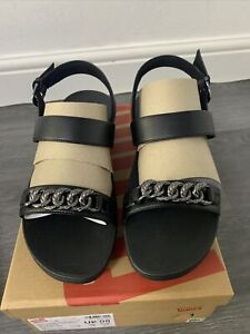 New Fitflop Lottie Chain All Black Back Strap Ladies Sandal Box Ladies Size 8