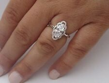 FINE 925 STERLING SILVER LADIES DESIGNER RING W/ 3 CTS DIAMOND/SIZE 5,6,7,8,9