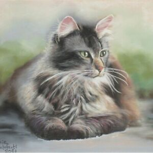Animal Art #135 Cat Painting in Pastels