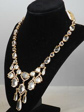 Kate Spade Gold Plated Clear CRYSTAL CASCADE Statement Y Necklace $248