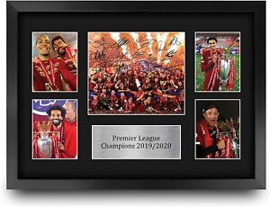 Liverpool A3 Framed Premier League Champions 2019/20 Autograph Signed Gift