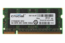 Crucial RAM DDR2 2GB PC2-5300S 5300 667MHz 667 200PIN Sodimm Laptop Memory SDRAM
