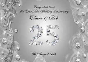 Personalised Silver 25th Wedding Anniversary Card