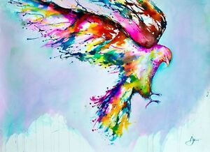 WATERCOLOUR BIRD POSTER (40X50CM) MARC ALLANTE FAUST NEW WALL ART