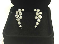 18k White Gold Earrings 2 carat Round Diamonds, F color VS/SI1 clarity