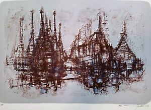MAX GUNTHER Original 1963 PENCIL-SIGNED LITHOGRAPH Barcelona Spires GAUDI 22/25