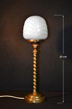 Edwardian 1910 Art Deco brass barley twist lamp Opaline Milk Glass Globe Shade