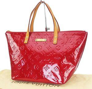 Auth LOUIS VUITTON Bellevue PM Pomme D'amour Vernis Leather Handbag Purse #40076