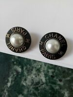 💋💋💋💋💋 Chanel 2 buttons  22mm lot of 2 pearl antique gold tone CC