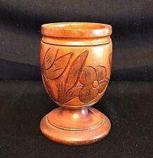 RUSTIC WOOD GOBLET, Hand Carved Floral and Diamond Design, VINTAGE