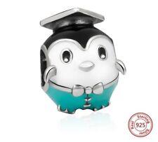 Penguine Graduation Charm Genuine Sterling Silver 925 Fits European Bracelet