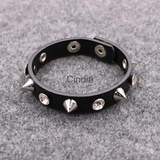 Punk Rock Spike Rivet Crystal Stud Leather Bangle Bracelet Cuff Wristband