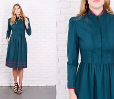 Vintage 70s Dress Green A Line Puff Sleeve Striped Lanz Small S