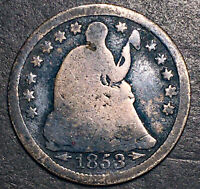 1853 O Seated Liberty Half Dime 5c Arrows Better Date Blue Toning
