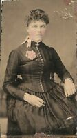 "Antique Tintype Photograph well dressed young lady 2"" X 3"" Great Image"