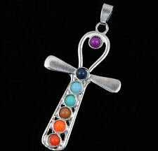 Silver-plated chakra pendant necklace with semi-precious stones - Egyptian ankh