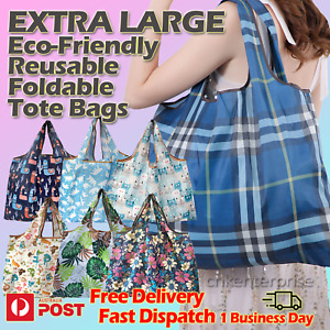 Eco-Friendly Reusable Foldable Tote Extra Large Shopping Bag Long Handle Grocery