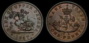 Canada Pre-Confederation Tokens Province of Canada 1857 One Penny Token AU++