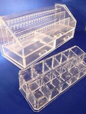 Jewelry & Lipstick Storage Organizers Clear acrylic Makeup Case Box Set 2pc GC