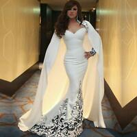 Arabic White Mermaid Evening Dress Long Sweetheart Musilm Prom Party Gown Custom