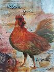 Original Chicken Poulet Farm Mixed Media Collage Canvas Painting Crossley