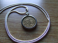 """1969 Golden Brass Classic Eagle Coin Mexico White Gold Filled 24"""" Round Chain"""