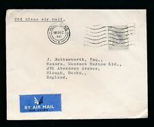 HONG KONG QE2 1961 AIRMAIL 65c SOLO FRANKING to SLOUGH GB