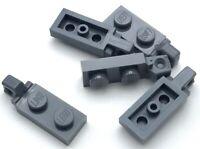 Lego 5 New Dark Bluish Gray Hinge Plates 1 x 2 Locking with 1 Finger On End