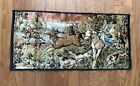 Vintage English Hound Deer Hunt Tapestry Rug Wall Hanging Made In Italy