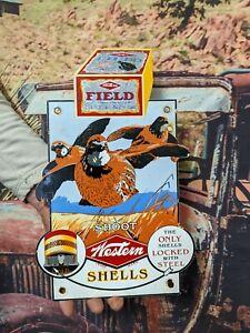 OLD VINTAGE WESTERN FIELD SHELLS PORCELAIN ADVERTISING GUN SIGN WINCHESTER COLT