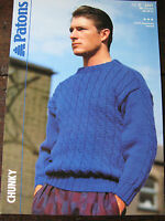 "Patons Knitting Pattern: Mens Chunky Sweater, 34-44"", 3301"