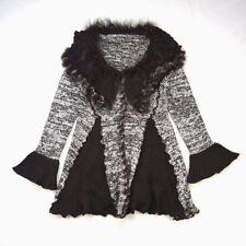Brown White Wool Knit Soft Rabbit Fur Trim Draped Collar Swing Sweater Jacket 3