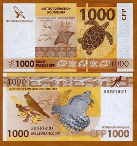 French Pacific Territories, 1000 Francs ND (2014) P-6, UNC > Turtle