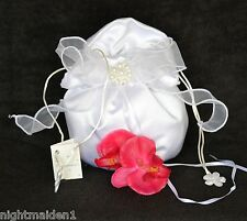 Bride/Bridesmaid/Flower Girl Dilly Bag - White Organza & Pearl Cluster