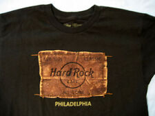 Hard Rock Cafe ® Philadelphia Faux Leather Logo Brown S Small T-Shirt New Nwot