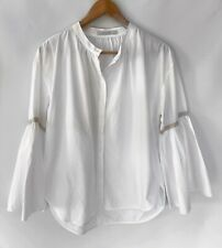 LEE MATHEWS Divine White Button Front Bell Sleeve Shirt Blouse Size 2 10 12