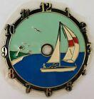 "Ramar Ind. Plastic Clock Face Sail Boat 1983 Sticky Back 4"" Diameter Vintage"