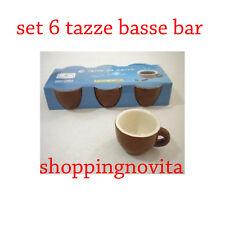SET 6 TAZZE BASSE DA CAFFE  BAR MARRONE INTERNO BIANCO SENZA  PIATTINO 2a9e04a5881