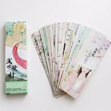 30pc/Box Chinese Song Poetry Bookmark Book Mark Magazine Note Label Memo School