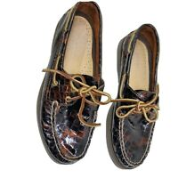 Sperry Top-Sider Loafer Boat Shoes Patent Leather Brown Croc  Flats Sz 7M Womens