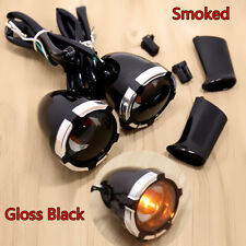 Gloss Black Deuce/Bullet Rear Smoked Turn Signals&Trims For Harley Dyna XL