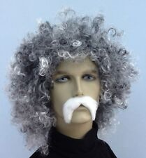 GREY CURLY FANCY DRESS WIG &  THICK WHITE MOUSTACHE. UK DISPATCH