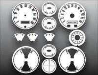 1967-1968 Ford Mustang METRIC KPH KMH Dash Instrument Cluster White Face Gauges