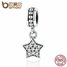 Bamoer European S925 Sterling Silver star pendant Charm with thread fit bracele